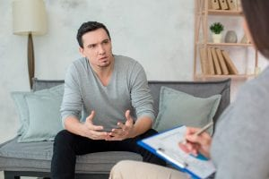 Man visiting psychologist meantal health care